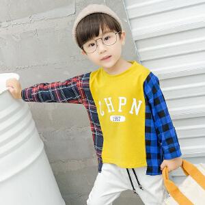 乌龟先森 卫衣 男童长袖格子拼接套头衫秋季新款韩版儿童时尚休闲舒适百搭中小童T恤
