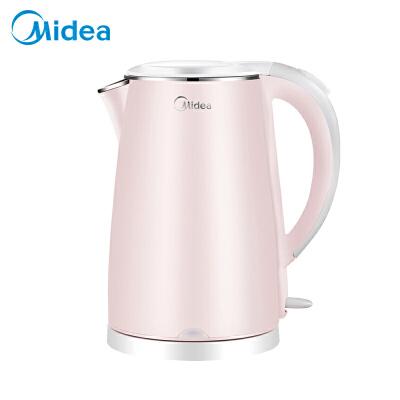 美的(Midea)电水壶 304不锈钢电热水壶 1.7L容量 双层防烫烧水壶MK-HJ1705(WHJ1705b)双层防烫 304不锈钢 快速沸腾 安全耐用