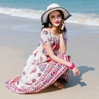 维绯沙滩裙露肩一字领波西米亚碎花连衣裙显瘦海滩度假长裙子 杏色