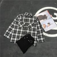 韩国日系港风潮人百搭宽松猫须下摆黑白格子长袖衬衫男女情侣衬衣