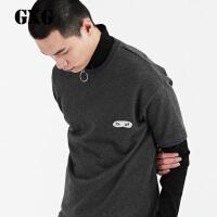 【21-22一件到手价:101.7】GXG卫衣男装 春季男士时尚潮流气质休闲修身黑色圆领套头卫衣潮