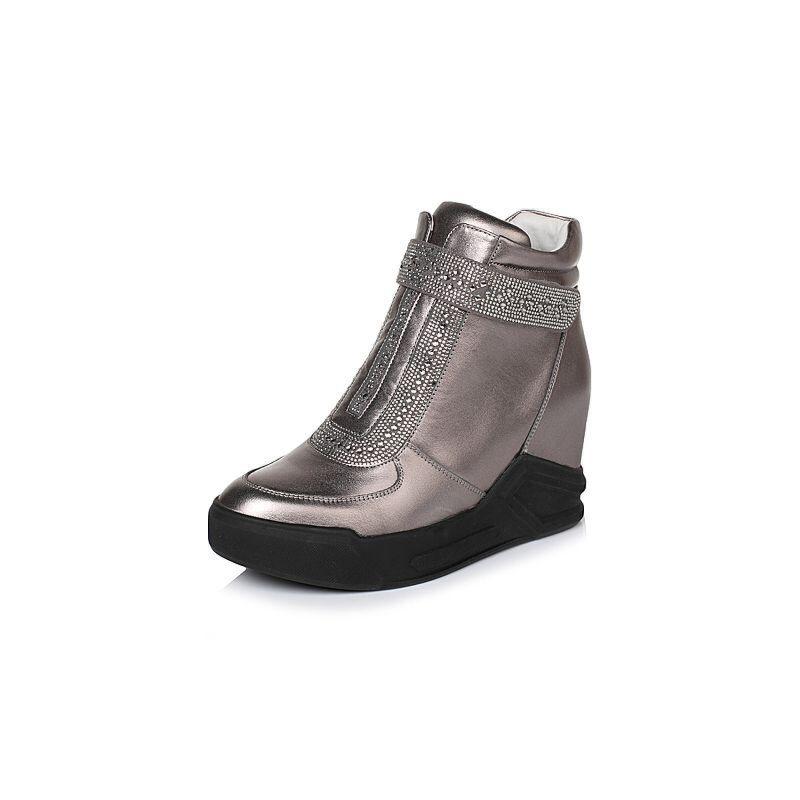 Belle/百丽冬专柜同款时尚贴膜牛皮/织物女休闲靴Q6F1DDD6