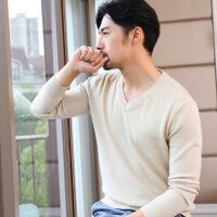 2018新款男士v领套头打底纯色大码加厚羊毛衫 针织衫羊绒圆领毛衣