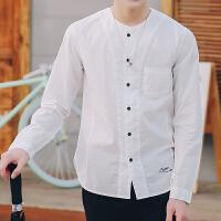 2017春季新款无领大码潮流衬衫男士长袖休闲韩版修身日系薄款衬衣