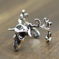 -个性潮创意龙化骨开口男女戒指复古泰银饰品简约大方925银指环 开口均码