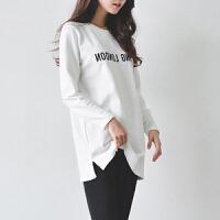 中长款打底衫宽松大码长袖T恤女秋冬韩版休闲字母印花上衣小衫潮 白色