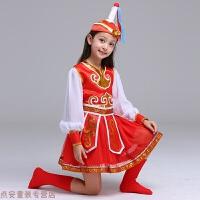 冬季六一儿童演出服新款蒙古族幼儿筷子舞少数民族舞蹈表演服装女童秋冬新款 红色