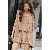 夏季新款棉麻套装女时尚三件套韩版宽松雪纺休闲西装高腰短裤套装