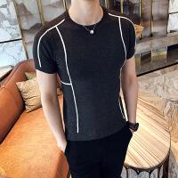 春季英伦休闲圆领线条针织衫男士韩版修身百搭打底短袖T恤潮