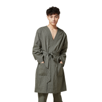 【12.12返场 年终狂欢 每满100减50】网易严选 设计师款 男式森林绿条纹睡袍