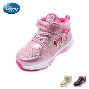 【139元任选2双】迪士尼Disney童鞋18新款儿童运动鞋女童米妮学生鞋短毛绒中帮休闲鞋 (5-10岁可选) S73438
