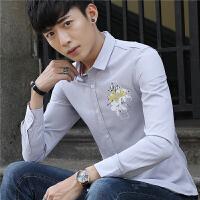 春季新款男士长袖衬衫韩版休闲男装个性印花衬衣修身上衣寸衫