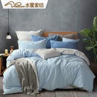 水星家纺水洗棉四件套纯棉全棉北欧ins风被套床单被套床品简尘梦