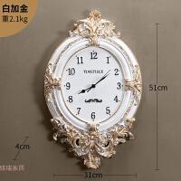 欧式挂钟客厅时钟家用扫秒机芯壁钟创意雕花钟饰挂表卧室钟表静音 20英寸
