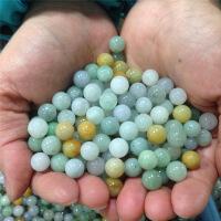 天然缅甸翡翠散珠a货饰品配件冰种油青三彩珠diy项链手链玉珠子