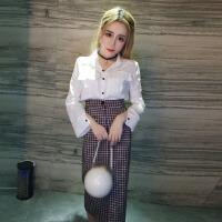 2018春季新款韩版双口袋单排扣长袖衬衫+包臀格子开叉半身裙套装