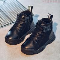 女童靴子2018新款秋冬季儿童鞋马丁靴英伦风加绒男童短靴雪地棉靴