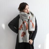 狐狸仿羊绒围巾女士双面披肩围巾两用秋季百搭长款学生保暖