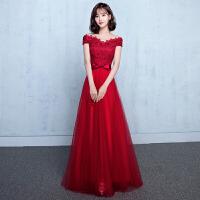 一字肩敬酒服新娘2018新款冬季端庄大气红色长款修身结婚礼服裙女