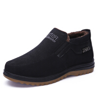 老北京布鞋男冬季新款加厚牛筋底防滑中老年保暖加绒爸爸东北棉鞋