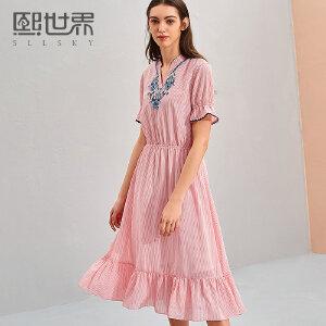 熙世界2018新款女装夏季中长款短袖连衣裙气质印花长裙112LL053