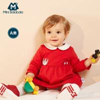 【2件3.8折】迷你巴拉巴拉女童红色连衣裙婴儿春新款儿童宝宝娃娃领红裙子