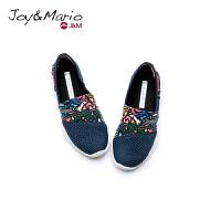 jm快乐玛丽2018春秋新款透气设计师涂鸦儿童鞋网格套脚鞋子78089C