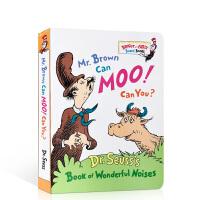 英文原版绘本 Mr. Brown Can Moo! Can You?苏斯博士:布朗先生可以��〗�! 你行么?Dr. S
