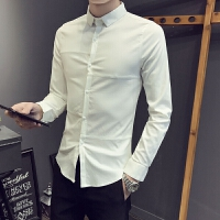 2018男士潮流长袖潮流小码码男韩版修身纯色长袖衬衫春季拼接弹力