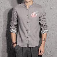 春秋潮男棉麻长袖衬衫中国风复古男装刺绣亚麻大码民族风衬衣唐装