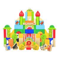 积木玩具1-2-3-6周岁 100粒数字字母积木桶宝宝大块男女孩儿童