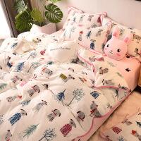 床上法莱绒四件套冬季珊瑚绒加厚法兰绒床单双面绒加绒卡通被套