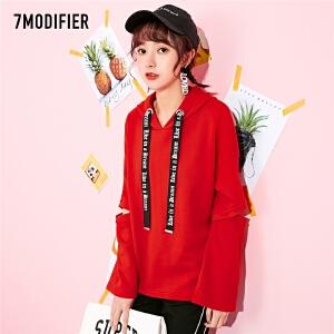 【秒杀价59元】上衣外套7m2019春装新款韩版学生宽松红色中长款运动连帽卫衣女70009631