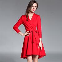 秋季女装新款系带气质修身连衣裙长袖欧洲站秋装中长款高腰a字裙