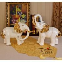 欧式客厅大象摆件陶瓷一对家居饰品如意大象工艺品