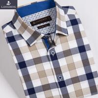 浪登夏中年男士短袖衬衫格子纯棉修身衬衫休闲男装潮流衬衣G0006