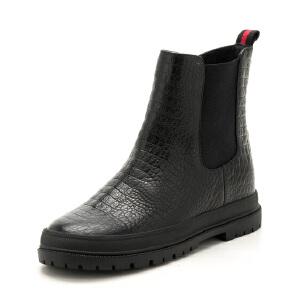星期六(ST&SAT)2107专柜同款牛皮革舒适平底侧拉链女款短靴SS74116553