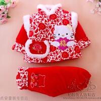 冬季儿童套装加厚唐装新款女宝宝冬季棉衣服新年装中国风周岁礼服装秋冬新款