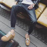牛仔裤男士春季韩版时尚磨白休闲长裤小脚青少年卷腿修身裤子男装