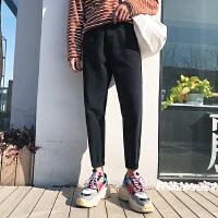 2018春季牛仔裤男士修身九分裤潮男纯色百搭牛仔裤子锥形裤小脚裤