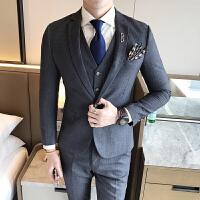 新款秋冬男士休闲西装青少年结婚婚礼西服英伦职业单扣西装三件套