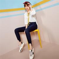 白色韩版女装宽松衬衣7m夏季新款白色连帽五分袖衬衫上衣女秋70010030