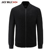 【满300减30】拉夏贝尔男装Jackwalk棒球领夹克冬季新品羊毛毛呢外套男立领