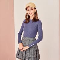 【3折到手价:65】【满399减80】Puella针织衫女长袖新款秋季圆领修身套头薄款打底毛衣上衣女