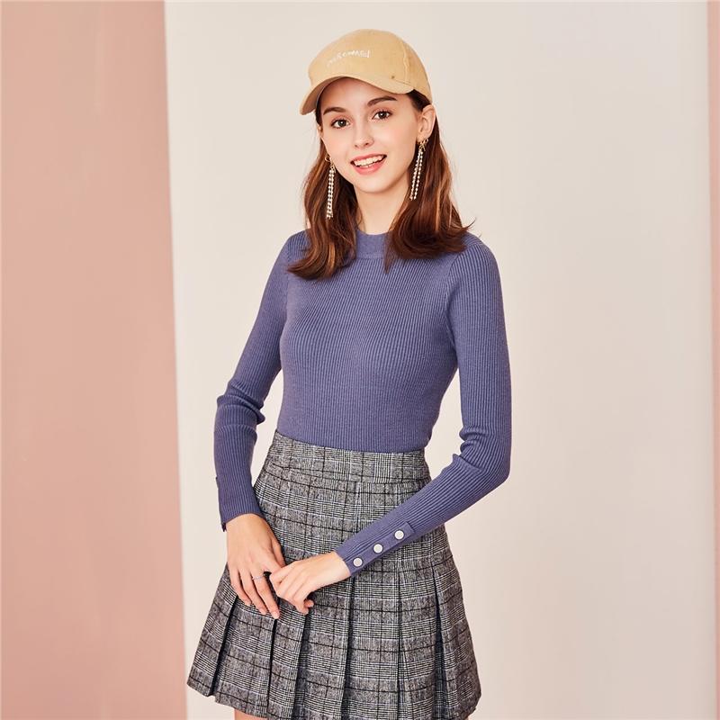 【2.5折到手价:59】【满399减50】Puella针织衫女长袖新款秋季圆领修身套头薄款打底毛衣上衣女 年前让利 超值购