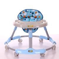 婴儿学步车多功能防侧翻可折叠手推可坐男宝宝女孩学行车6-18个月 天空蓝餐盘款 普通轮