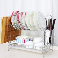 [当当自营]会生活 厨房置物架放碗架双层碗盘架沥水架滴水2层家用碗碟架不锈钢碗柜