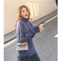 哺乳衣超时髦 慵懒风毛衣 哺乳连衣裙套装时尚款秋冬外出喂奶衣 蓝色毛衣+网沙裙