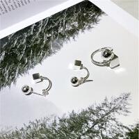 ?韩版圆球方形耳环 几何925纯银耳坠 品质设计 素银质感 女士耳饰