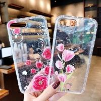 苹果6s手机壳iPhone7镶钻透明壳6splus闪粉水钻保护套8p浮雕防滑x防摔软套花朵个性新款创意时尚夏季全包边女